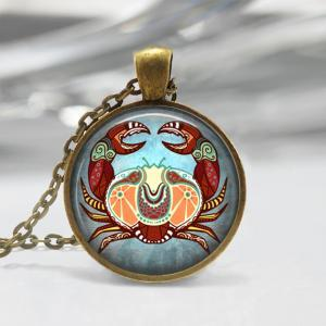 Cancer Zodiac Glass Pendant - Cance..