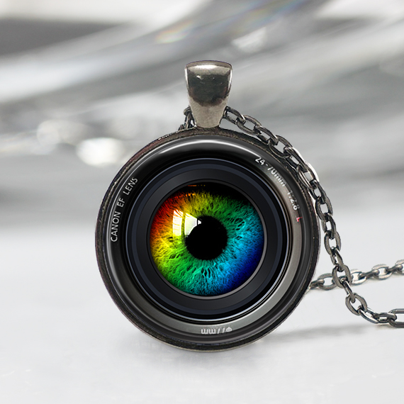 Eye In A Camera Lens Necklace Photographer Jewelry Camera
