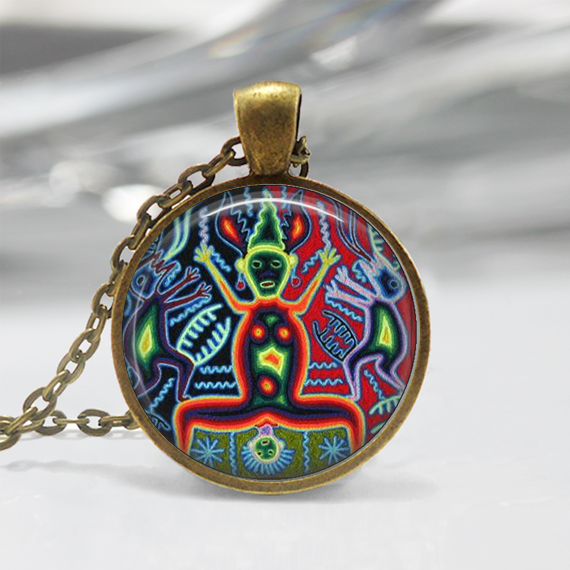 Mexican Art Glass Pendant,Art Deco Pendant, Art Charm, Art deco Necklace, Art Pendant Jewelry