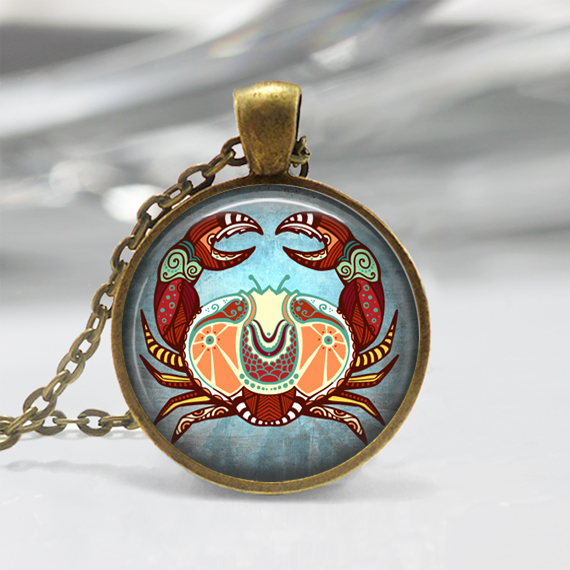 Cancer Zodiac Glass Pendant - Cancer Zodiac Jewelry - Zodiac Necklace - Art Pendant - Zodiac Necklace -Zodiac Charm,Astrology Pendant