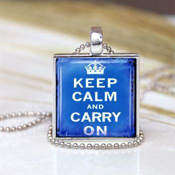 Vintage Keep Calm And Carry On Pendant Blue