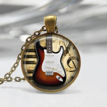 Electric Guitar Glass Pendant,Instrument Jewelry Electric Guitar Necklace 02