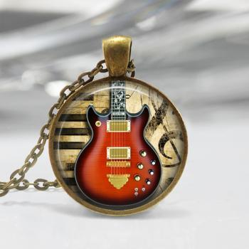 Electric Guitar Glass Pendant,Instrument Jewelry Electric Guitar Necklace 01