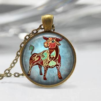 Taurus Zodiac Glass Pendant -Taurus Zodiac Jewelry -Zodiac Necklace - Art Pendant -Zodiac Necklace -Zodiac Charm,Astrology Pendant